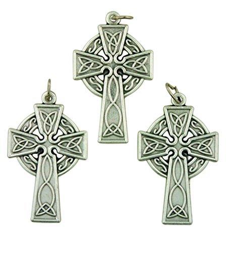 (Lot of 3 Silver Tone 1 1/2 Inch Celtic High Cross Irish Pendant)