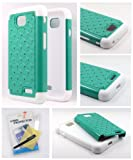 Thousand Eight(TM) For LG Optimus L70 Diamond Studded Silicone Rubber Skin Hard Case + [FREE LCD Screen Protector Shield(Ultra Clear)+Touch Screen Stylus] (Diamond teal green/white)