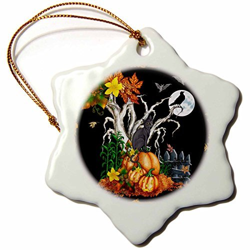 (Christmas Ornament Halloween Night with a Black Cat, Creepy Tree, Full Moon, Bats and Jack O Lanterns-Snowflake Ornament,)