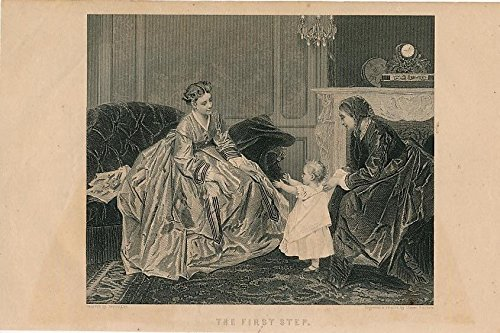 (Young mother baby's first step 1866 antique print)