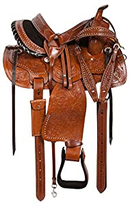 "14"" 15"" 16"" Ranch Work Western Leather Hand Carved Pleasure Trail Horse Saddle Tack Headstall Reins Breast Collar"