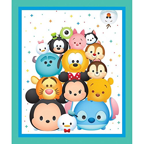 Disney Tsum Tsum Cotton Fabric Panel - Officially Licensed (Great for Quilting, Sewing, Craft Projects, Quilt or Throw Pillows) 36