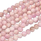 NBEADS 49PCS Natural Kunzite Semi Precious Gemstone Loose Beads, 8mm Round Smooth Beads for Jewelry Making, 1 Strand 15.5""