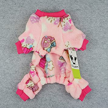 Fitwarm Sweet Cupcake Pet Clothes for Dog Pajamas PJS Coat Soft Velvet Pink