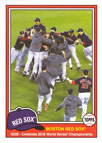 2018 Topps Throwback Thursday (TBT) #226 Boston Red Sox Celebrate 2018 World Series Championship Baseball Card - Steve Pearce, J.D. Martinez, Rafael Devers, and more - Only 667 made! ()