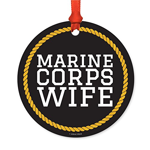 Andaz Press Military Round Metal Christmas Ornament, Marine Corps Wife, 1-Pack, Includes Ribbon and Gift Bag, Mother's Day Present Ideas