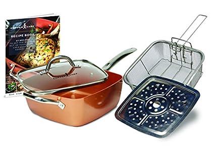 Set de 5 Pieces Copper Chef en Aluminium moulé et céramique cuivré – Vu à la Télé