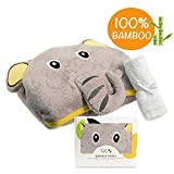Organic Hooded Baby Towel | 100% Bamboo, Hypoallergenic, Highly Absorbent, Antibacterial & Natural UV Protectant | Perfect Gift For Baby Shower, Newborn Girls & Boys | Bonus Bamboo Washcloth | Soft & Delicate Fabric | 500 GSM | 35 x 35 In | Happy Elephant