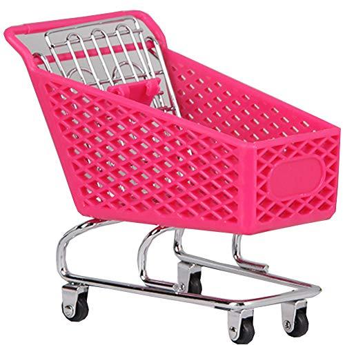 BLANCHO BEDDING Mini Carretilla de Mano del supermercado Carrito de Compras de Juguete, Almacenamiento de Escritorio Hot Pink...