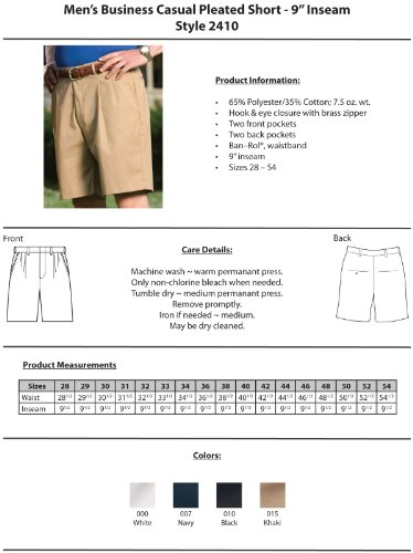 Ed Garments Men's Pleated Business Casual Chino Short, WHITE, 34 by Edwards Garment (Image #3)