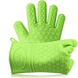 Silicone Cooking Gloves, Heat Resistant Oven Mitt For Grilling BBQ, Oven, Grill, Baking and Cooking. Insulated, Waterproof.Total Finger, Hand, Wrist Protection (Green)