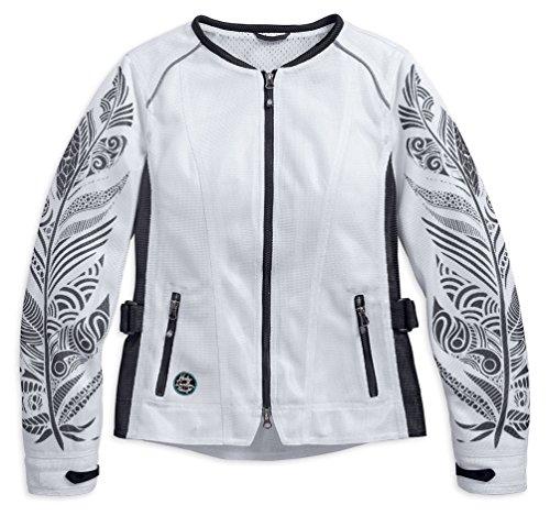 Harley-Davidson Women's Siege Mesh Zip Riding Jacket, White 97213-17VW (S)