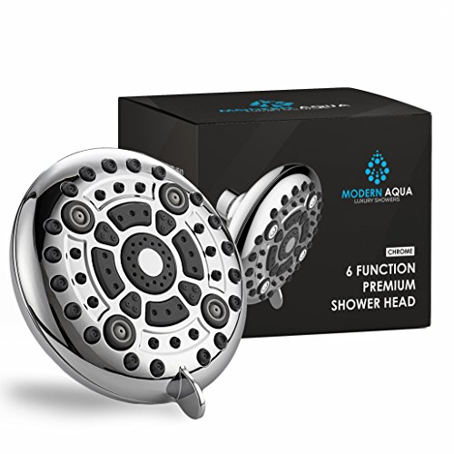 ModernAqua 6-function 5'' Shower Head - 2.5 GPM High Flow - Luxury Chrome Rain Showerhead with Anti-Clogging Silicone Jets - Removable Water Restrictor - Wall Mount - Self Cleaning nozzle by Modern Aqua