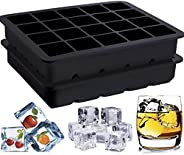 Ice Cube Tray, Playmont Food Grade Silicone Ice Mold Maker, Square shaped Ice Tray Molds for Whiskey, 2 Pack S