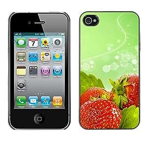 Paccase / SLIM PC / Aliminium Casa Carcasa Funda Case Cover - Fruit Macro Wet Strawberries - Apple Iphone 4 / 4S