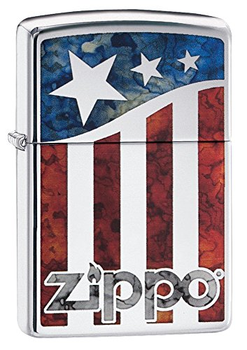 Zippo American Flag Pocket Lighter, High Polish Chrome