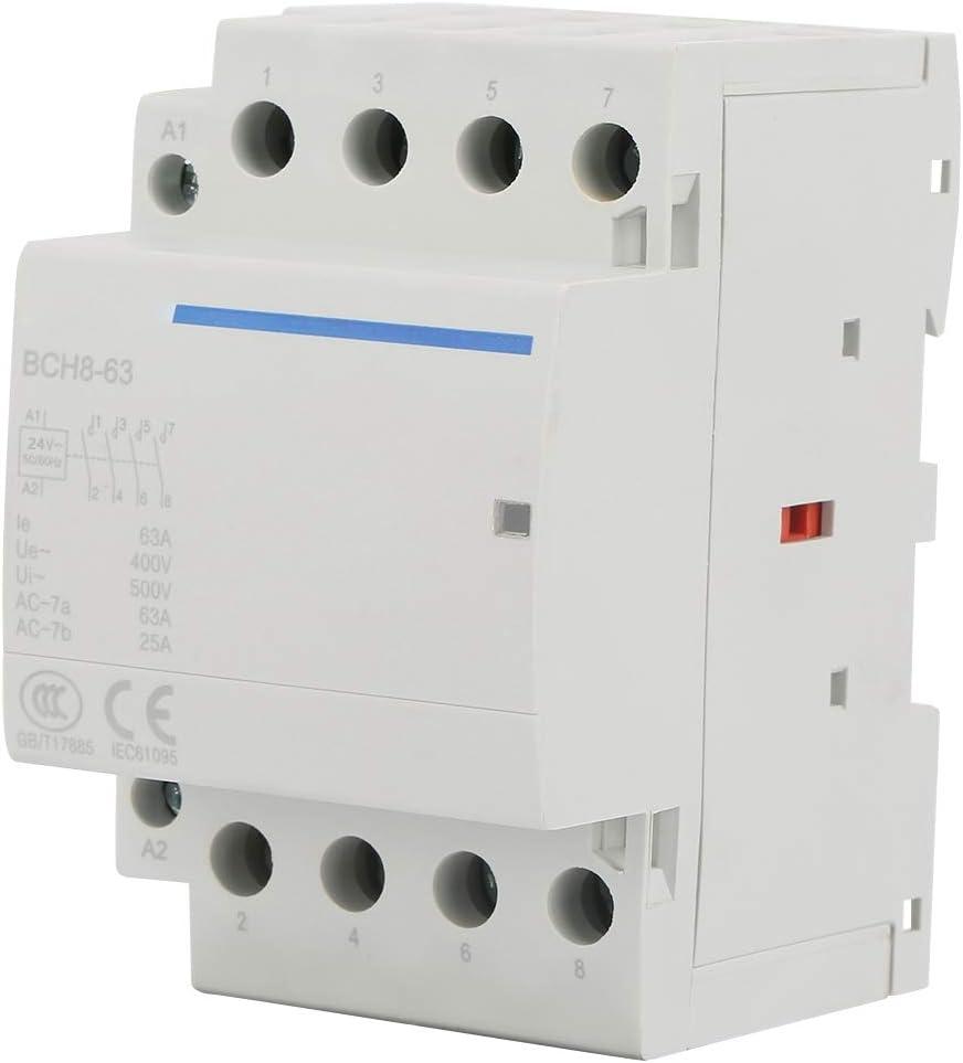 Contactor de AC 4P 2NO 2NC 63A 24V / 230V 50 / 60Hz Contactor de AC para el hogar 100,000 veces la vida eléctrica(AC230V)