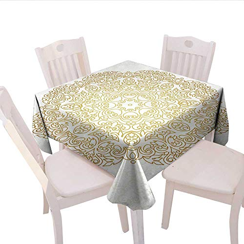 Home-textile-print Mandala Dinner Picnic Table Cloth Traditional Outline Design on Swirled Backdrop Victorian Baroque Moroccan Waterproof Table Cover for Kitchen 60x60 (inch) Yellow and Coconut