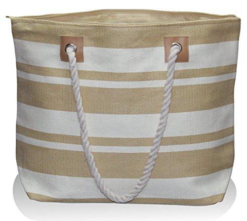 "UPC 697111820001, Large Zipper Top Stripe Straw Look Beach Bag Tote - 20""x15""x6"" (Sand White Stripe)"