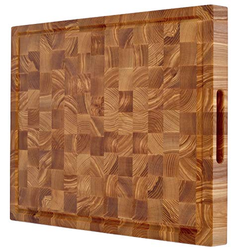 Professional butcher block cutting board 24 x 18 inch extra large thick wooden double sided end-grain chopping board
