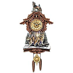 Thaweesuk Shop Woodland Forest Wolf Native Rustic Wooden Cuckoo Clock New Measures Approximately 8 W x 24 H x 4-1/2 D Including Hanging Pendulum and Weights 20.3 cm W x 61 cm H x 11.4 cm of Set