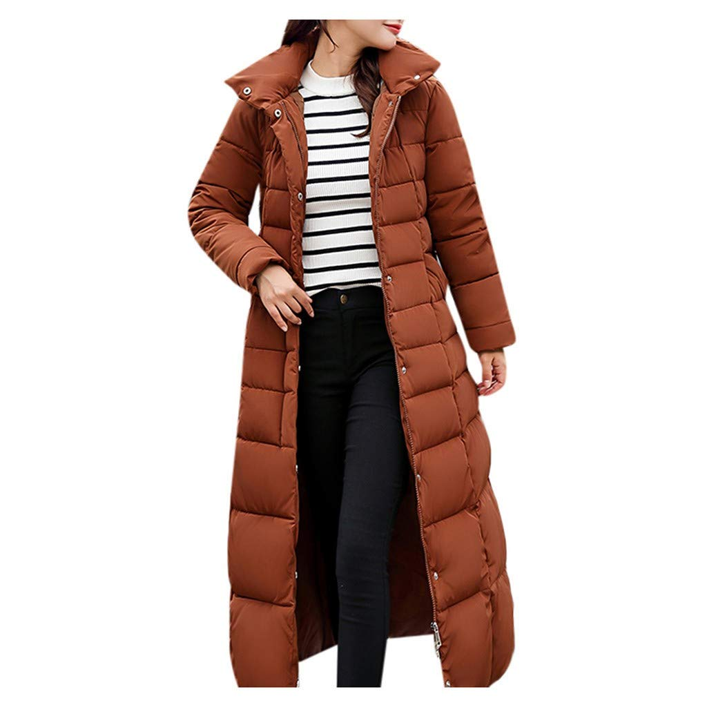 Women's Jacket Coat, Ladies Solid Casual Thicker Winter Outwear Slim Long Overcoat with Faux Fur Hooded by Nevera Coffee by Nevera Women