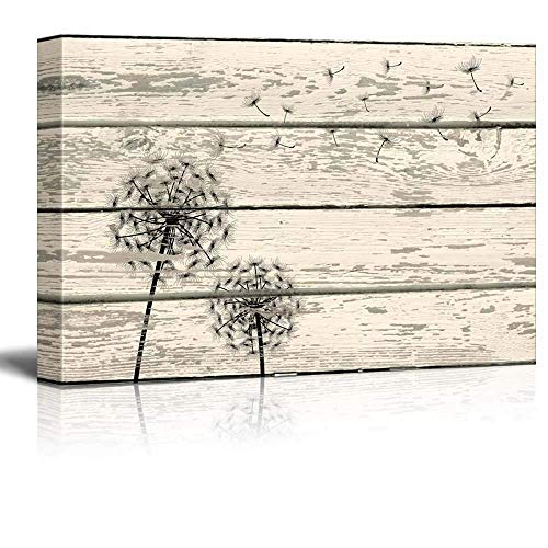 Rustic Dandelion Artwork on Vintage Wood Board Background Stretched