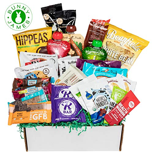 Deluxe Vegan Protein Snacks Box: Mix of Healthy Vegan Protein Bars, Cookies, Vegan Jerky, Chips & Nuts Health Care Package Gift Box (30 ()