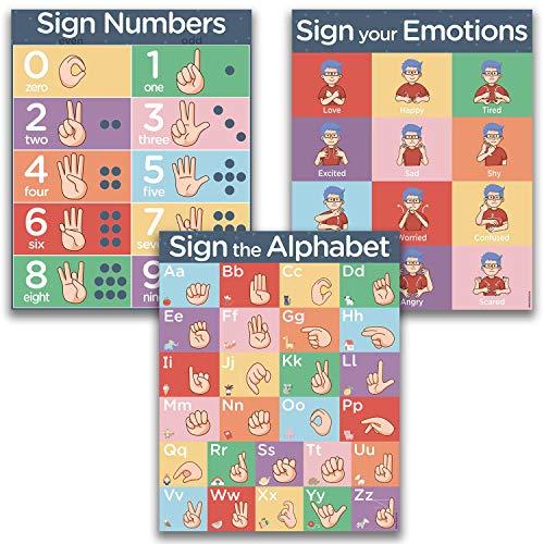 (ASL Kids Sign Language Posters - 3 16x20