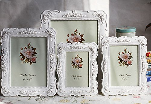 Creative Photo Frame Roses Flowers Crystal Diamond White Europe Style Fashion Vintage Ornaments Photo Frames Home Accessories (6*8 - Frame White Picture Vintage