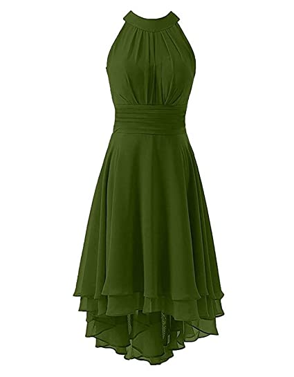 9b171db43182c Botong Coral Halter Neck Hi-Lo Bridesmaid Dress Chiffon Prom Evening Party  Gown: Amazon.co.uk: Clothing