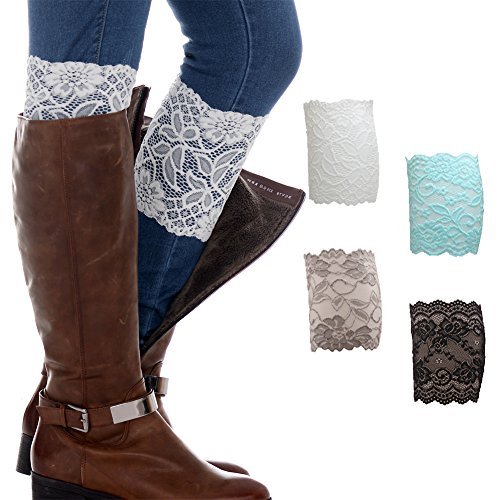 - FAYBOX Women Lace Floral Boot Cuffs Leg Warmer Socks Pack of 4 BU
