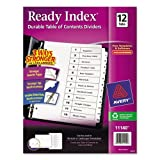 Avery Ready Index Table of Contents Dividers, Black/White, 12-tab Set (11140) (Pack of 3)