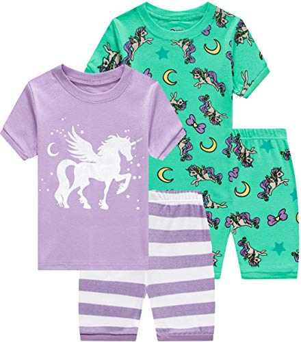 Pajamas for Girls Summer Baby Clothes Kid Children Horse PJs Short Set 4 Pieces Sleepwear 7t