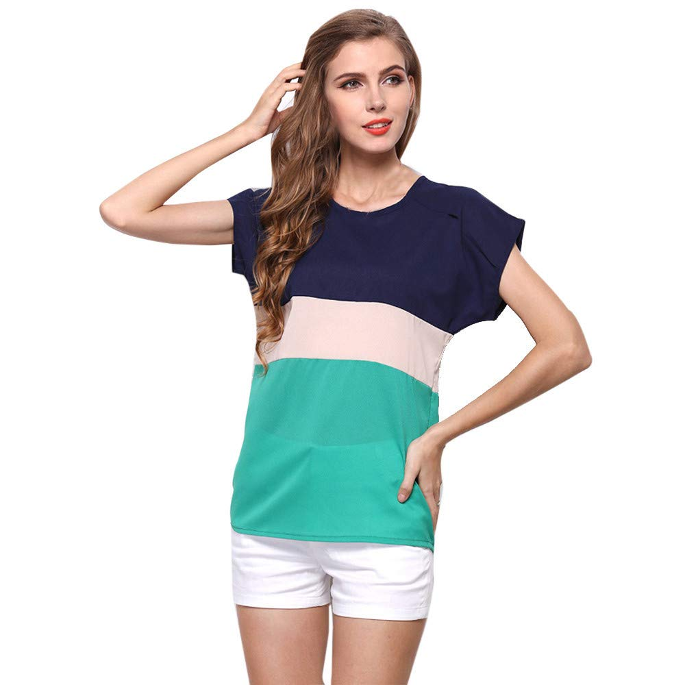 BAOHOKE Women Summer Stripe Chiffon T-Shirt Short Sleeve Casual Tops Blouse Color Matching looseT-Shirt(Green, S)