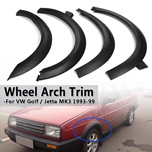 BAGUIO STORE 4pcs For Fender Flares Univeasal For Cars/Wheel Arch Trim Set For VW Golf For Jetta Cabrio MK3 ABS Plastic Mudguards Sticker