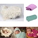 3 Pcs Newborn Baby Photography Photo Props Portfolio Sets --1 Pcs Soft Fur Quilt Photographic Mat+1 Pcs Soft Cotton Wrap+1 Pcs Stretch long Ripple Wrap-Baby (Creamy-white+Light Purple+Light Green)