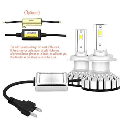 Wiseshine H7 6000K LED Headlight Bulbs All-in-One Conversion Kit Lumen Cool White
