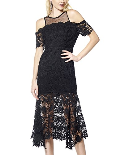 Used, Gracia Lace Embroidery Open-Shoulder Dress(Black_L) for sale  Delivered anywhere in Canada
