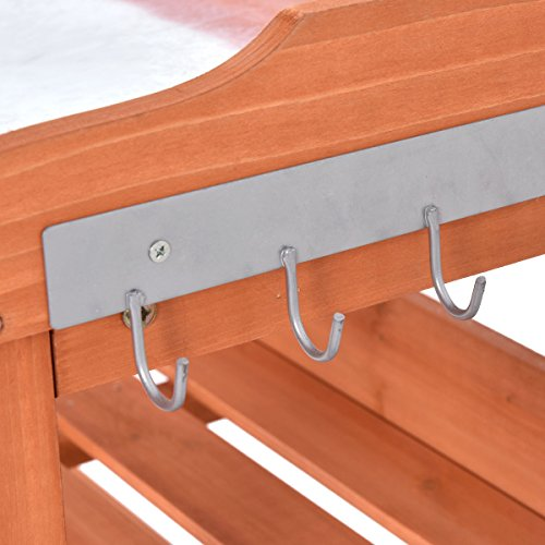 Heaven Tvcz Potting Bench Work Station Table Tool Storage Station Patio Shelf Garden Work Wooden Hook Outdoor by Heaven Tvcz (Image #6)
