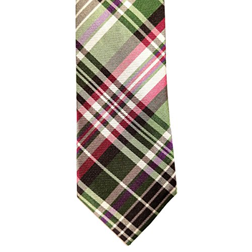 Webster Green Plaid Check 100  Silk 2 5 Inch Skinny Tie