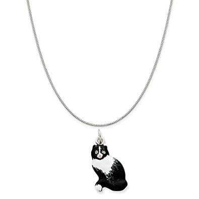 Mireval Sterling Silver Bull Charm on a Sterling Silver Chain Necklace 16-20