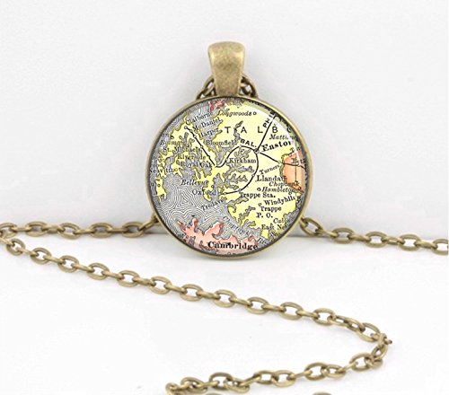 easton-and-st-michaels-talbot-county-maryland-map-vintage-map-pendant-necklace-key-ring-travel-gift-