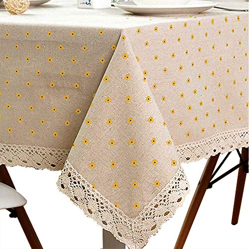 LINENLUX Cotton Linen Tablecloth Macrame Lace Table Cloths Linen Rectangle Table Covers Table Top for Dinner Parties Christmas Holidays or Everyday Use (39.4x55.1In, Yellow)