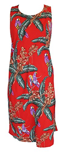 Paradise Found Womens Jungle Bird Rayon Short Tank Dress RED (Jungle Bird)