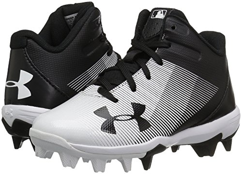 Under Armour Boys' Leadoff Mid Jr. RM Baseball Shoe, Black (011)/White, 1 by Under Armour (Image #6)