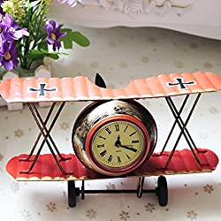 Airplane Table Clock CR Retro Vintage Plane Airplane Model Clock with Lindbergh Aviation Aircraft Clocks Home Decoration Toy gift for children kids (A-Red)