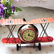 Airplane Table Clock CR Retro Vintage Plane Airplane Model Clock with Lindbergh Aviation Aircraft Clocks Home Decoration Toy gift for children kids