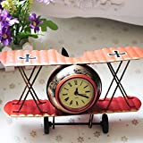 Airplane Table Clock CR Retro Vintage Plane Airplane Model Clock with Lindbergh Aviation Aircraft Clocks Home Decoration Toy gift for children kids (A-Red) Review