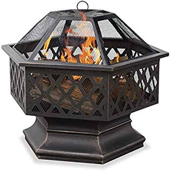 Endless Summer,WAD1377SP, Hex Shaped Outdoor Fire Bowl with Lattice, Oil Rubbed Bronze